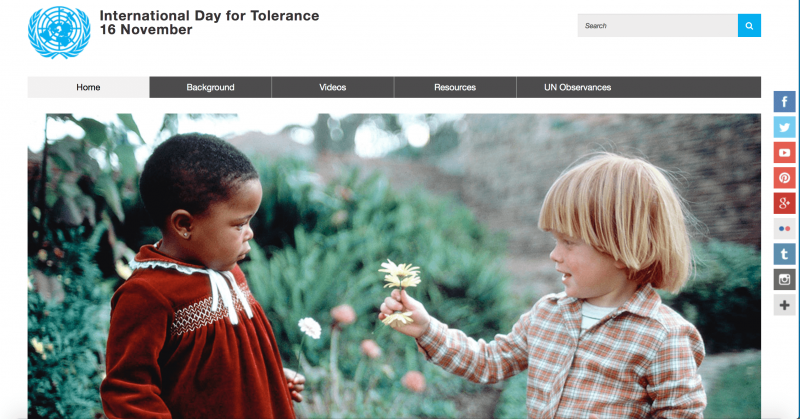 International Day for Tolerance 16 November at the UN