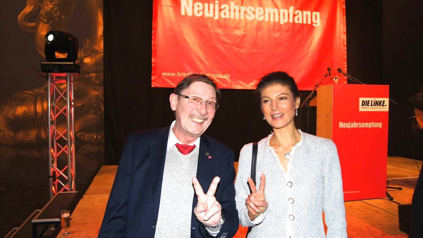 German Politician Sahra Wagenknecht sending greetings from Saarland Germany to Global Tolerance Faces Founder Madame Sabine Balve Picture with colleague Fraktionsmitglied Willie Edelbluth