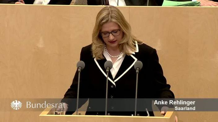 The German Anke Rehlinger as Deputy Prime Minister of Saarland and Acting Minister for Economic Affairs, Energy and Transport at the Bundesrag